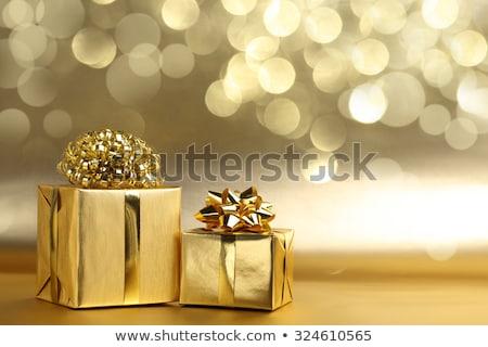golden bokeh with gift box stock photo © adamson