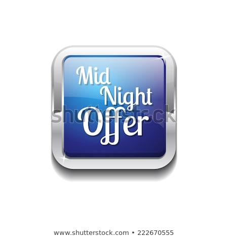 полночь предлагать синий вектора икона кнопки Сток-фото © rizwanali3d