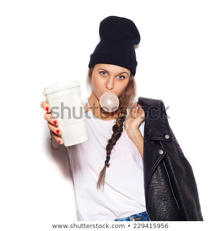 Young woman holding chewing gums Stock photo © nyul