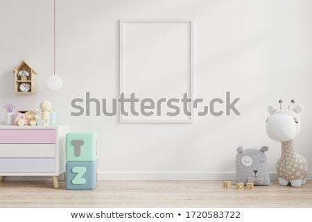 bom · quarto · piso · de · madeira · banquinho · família · casa - foto stock © magann