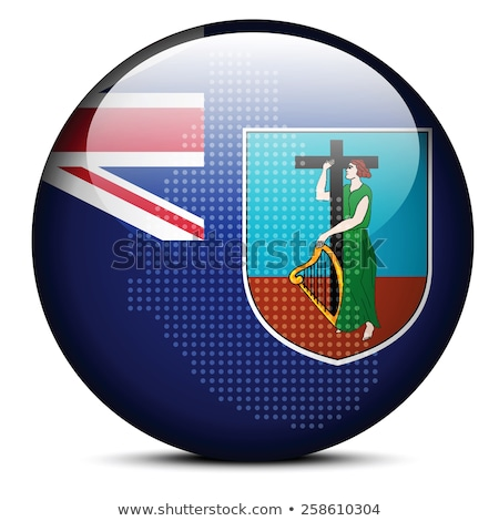 map with dot pattern on flag button of crown colony montserrat stock photo © istanbul2009