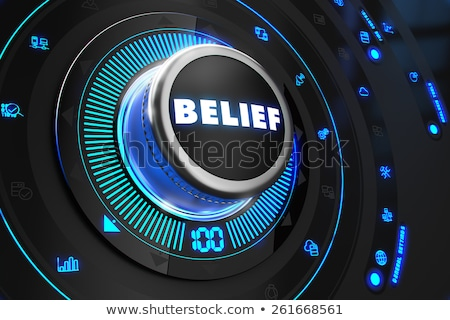 Convinzione pulsante blu luci nero Foto d'archivio © tashatuvango