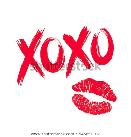 Foto stock: Beijo · imagem · impresso · feminino · lábios · batom · vermelho