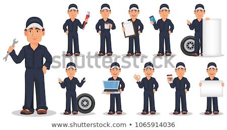 механиком улыбаясь гаечный ключ Постоянный Cartoon иллюстрация Сток-фото © patrimonio