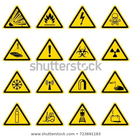 warning sign yellow vector button icon design set stock photo © rizwanali3d