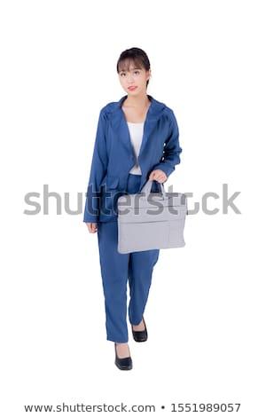 довольно служба сотрудник портфель изолированный белый Сток-фото © Elnur