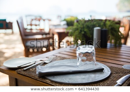 Outdoor restaurant open air chairs with table. Summer Stock photo © art9858