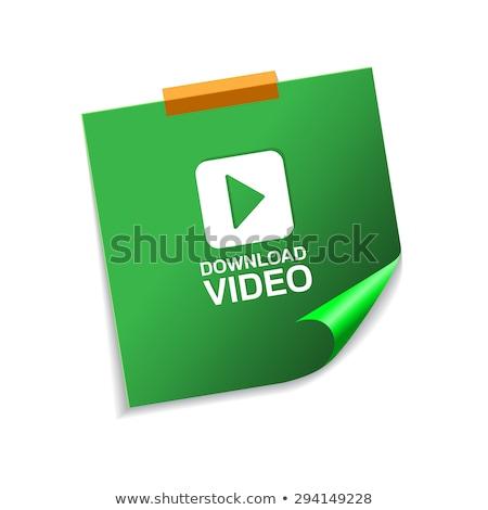 Téléchargement vidéo vert sticky notes vecteur icône Photo stock © rizwanali3d