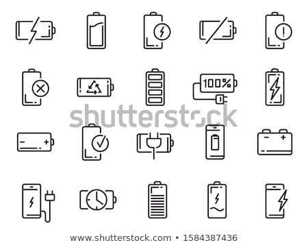 empty battery thin line icon stock photo © rastudio