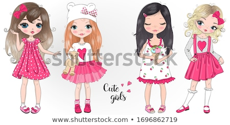 Stock photo: Young fashionable girl in pink dress.