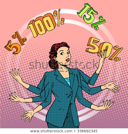 promotions discounts sale businesswoman juggling cent stock photo © studiostoks