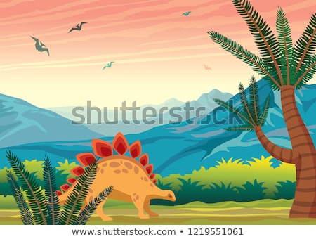 Prehistoric Scene with Dinosaurs Stock photo © AlienCat