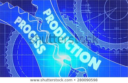 Continuous Production on the Gears. Blueprint Style. Stock photo © tashatuvango