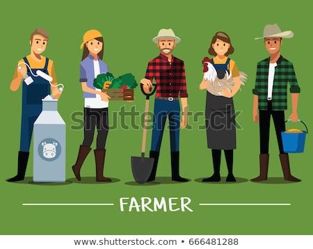 вектора фермер курица корова фермы трава Сток-фото © Morphart