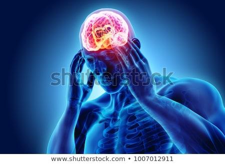 Baş ağrısı tıbbi mavi hapları şırınga seçici odak Stok fotoğraf © tashatuvango