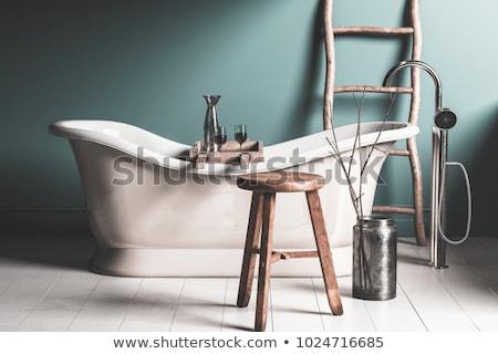 Piros fürdőszoba otthon belső modern berendezési tárgyak Stock fotó © NiroDesign