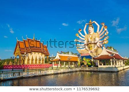 Templo Tailandia árbol nubes azul viaje Foto stock © master1305