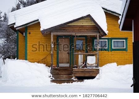 Fából készült ház hó tél falu öreg Stock fotó © Kotenko