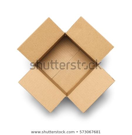 Karton Open lege vak geïsoleerd witte Stockfoto © AptTone