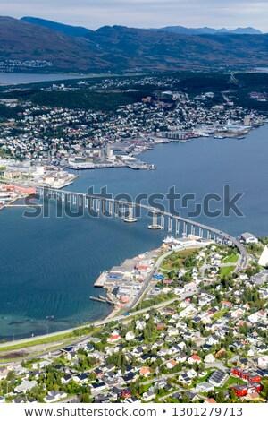 ノルウェー 空 壁 日没 風景 ストックフォト © slunicko