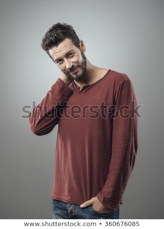 félénk · fickó · kéz · mögött · fej · vonzó - stock fotó © stokkete