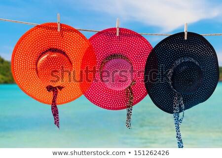 Straw sunhat on vibrant pink background Stock photo © ozgur