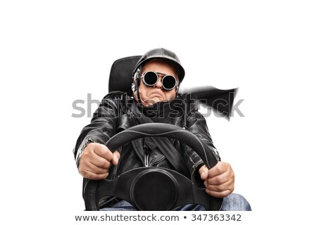 seated mature man in leather jacket stock photo © feedough