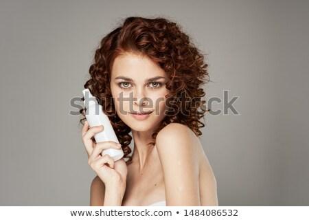 Szépség portré boldog nő jelentkezik hajlakk Stock fotó © deandrobot