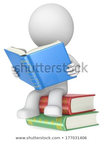 Сток-фото: белый · 3D · характер · куча · книгах · иллюстрация