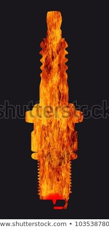сжигание · Plug · белый · черный · назад · огня - Сток-фото © bigalbaloo