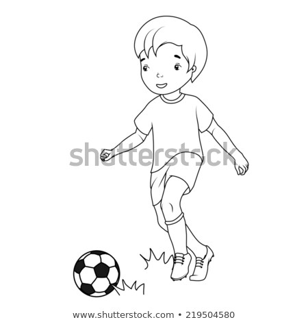 a coloured sketch of a boy playing soccer stock photo © bluering
