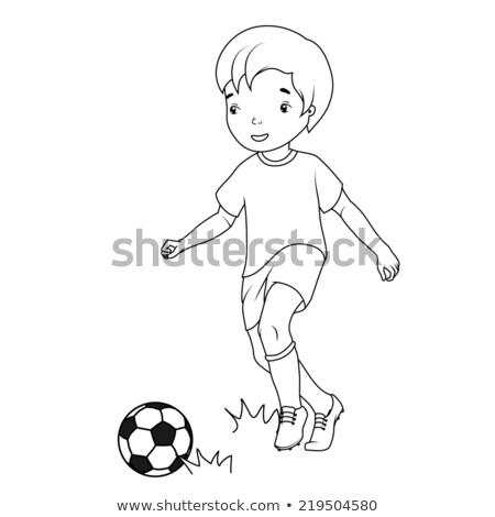Schets jongen spelen voetbal illustratie witte Stockfoto © bluering