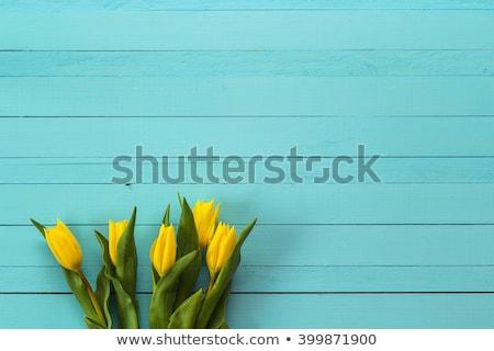 Bukiet żółty tulipany drewniany stół puszka używany Zdjęcia stock © Valeriy