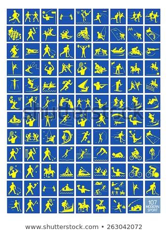 Sport icon for taekwondo in blue Stock photo © bluering