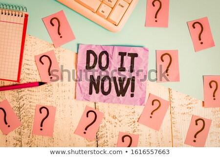 Most felirat fa asztal óra üzlet iroda Stock fotó © fuzzbones0