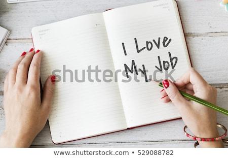 Amor mi Trabajo mesa de madera palabra oficina Foto stock © fuzzbones0