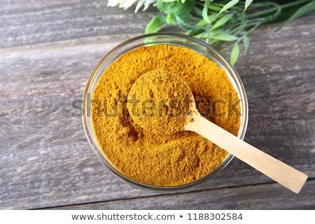 Curry polvo tazón alimentos madera Foto stock © Digifoodstock