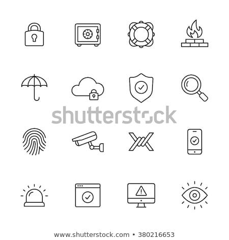 Umbrella simple black icon stock photo © Evgeny89