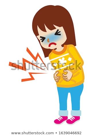 Bonitinho little girl desenho animado dor de estômago menina cara Foto stock © jawa123
