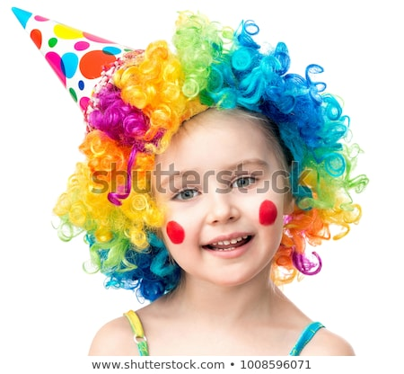 cute funny clown child on white background stock photo © zurijeta