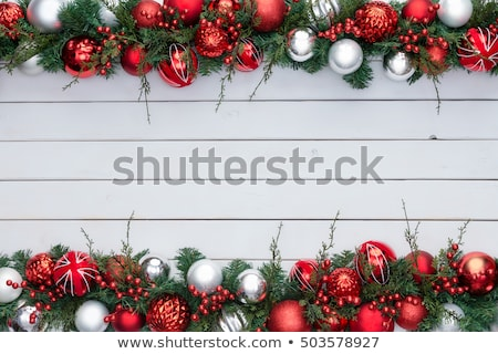 red and white colorful festive double xmas border stock photo © ozgur