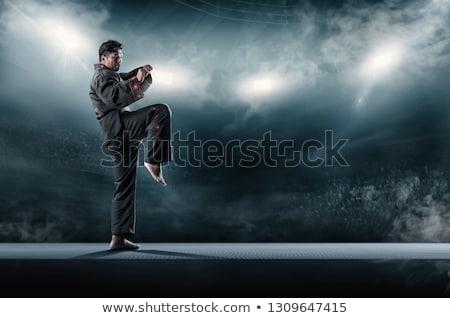 Taekwondo lutador pose homem maduro karatê Foto stock © Jasminko