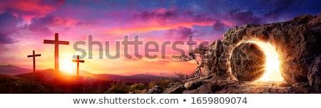 воскресение иллюстрация закат крест жизни силуэта Сток-фото © adrenalina