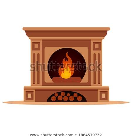 Сток-фото: Fireplace House Vector Illustration Clip Art Image
