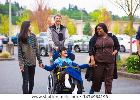 Сток-фото: афроамериканец · мальчика · коляске · иллюстрация · ребенка · здоровья