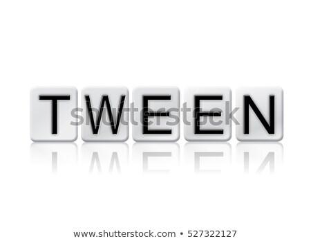 Jóvenes aislado azulejos cartas palabra escrito Foto stock © enterlinedesign