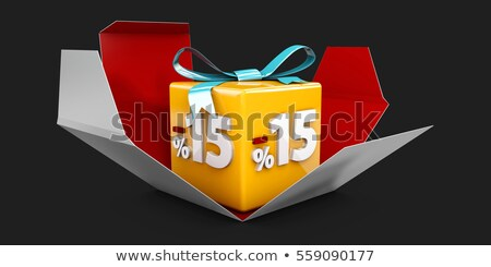 3d Illustration red discount 15 percent off and in the gray box. Stock photo © tussik