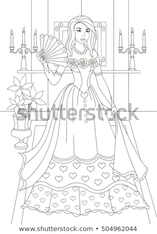 Outlined rococo lady in antique dress. Coloring page vector illustration. Stock photo © maia3000