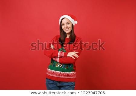 小さな · サンタクロース · 少女 · クリスマス · 孤立した · 白 - ストックフォト © Elnur