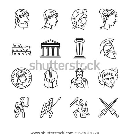 római · harcos · kard · férfi · fehér · stúdió - stock fotó © bigalbaloo